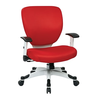 Office Star Space Seating Pulsar White Finish Frame Managers Chair, Red Fabric