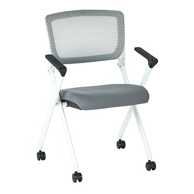 Office Star Space Pulsar White Fin Frame Manager Chair w/Screen Back & Steel Padded Fabric-2/Pk