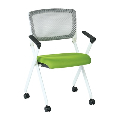 Office Star Space Pulsar White Fin Frame Manager Chair W Screen Back Green Padded