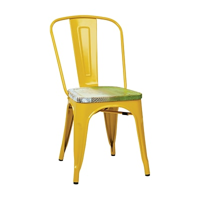 OSP Designs Bristow Side Chairs Metal & Wood, Yellow & Pine Alice