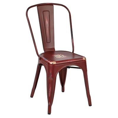 OSP Designs Bristow Armless Metal Chair; Antique Red