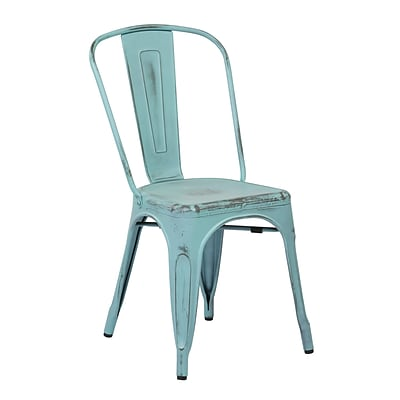 OSP Designs Bristow 4 Piece Armless Metal Chair, Antique Sky Blue