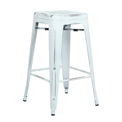 OSP Designs Bristow 26-inch Metal Barstool, Antique White