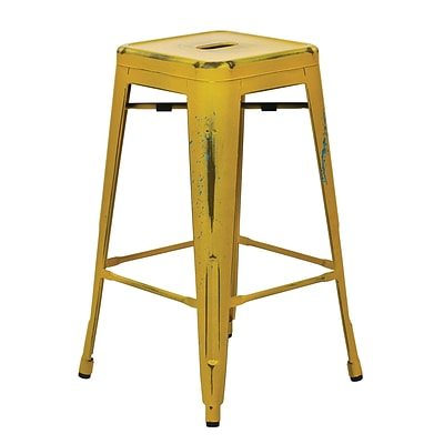 OSP Designs Bristow 26-inch Metal Barstool, Antique Yellow with Blue Specks
