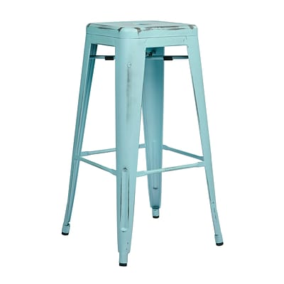 OSP Designs Bristow 30-inch Metal Barstool, Antique Sky Blue
