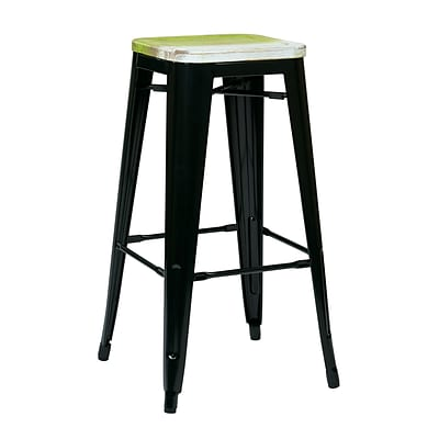 OSP Designs Bristow Antique Black Metal & Wood Barstool, Pine Alice