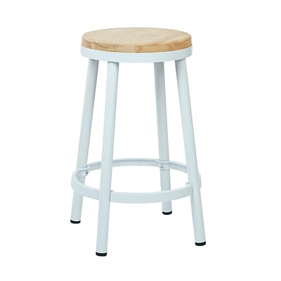 OSP Designs Backless Metal & Wood Barstool with Frame, White