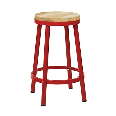OSP Designs Backless Metal & Wood Barstool with Frame, Red