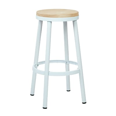 OSP Designs Backless 30-inch Metal & Wood Barstool with Frame, White