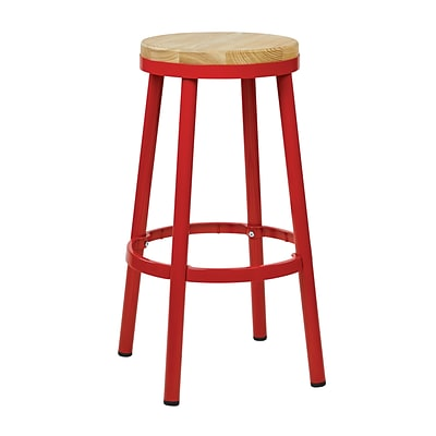 OSP Designs Backless 30-inch Metal & Wood Barstool with Frame, Red