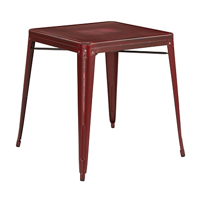 OSP Designs Metal Bristow Table, Antique Red