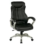 Work Smart Executive Managers Leather Office Chair; Black & Silver
