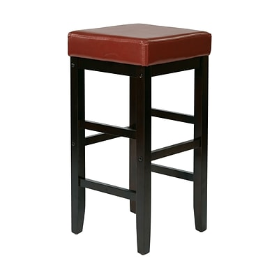 OSP Designs Wood & Polyurethane Square Stool, Red