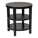 Ave Six Wood Merge Grain Table Black, Round End