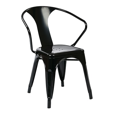 Work Smart 30-inch Patterson Office Metal Stacking Chair, Black