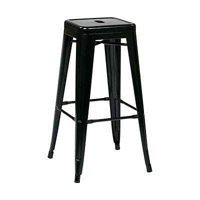 Work Smart Backless 30-Inch Steel Barstool, Black