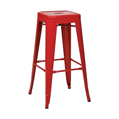 Work Smart Backless 30-Inch Steel Barstool, Red