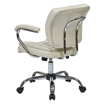 Work Smart Metal & Faux Leather Task Chair, Cream