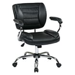 Work Smart Metal & Faux Leather Task Chair, Black