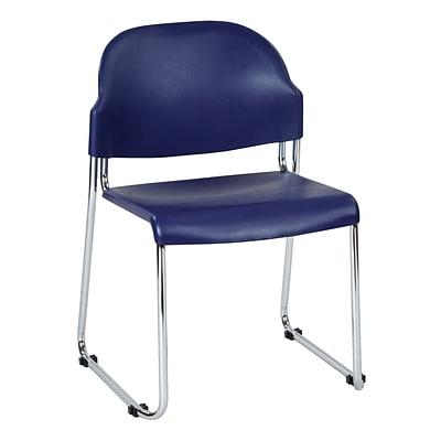 Work Smart Metal & Plastic Stacking Chair, Blue, 2/Pack