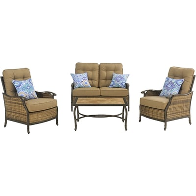 Hanover Outdoor Hudson Square Deep Seating Lounge Set, 4-Piece (HUDSONSQ4PC)