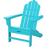 Hanover Outdoor Furniture All-Weather Contoured Adirondack Chair with Hideaway Ottoman, Aruba (HVLNA