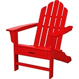 Hanover Outdoor Contoured Adirondack Chair with Hideaway Ottoman, All Weather, Sunset Red (HVLNA15SR