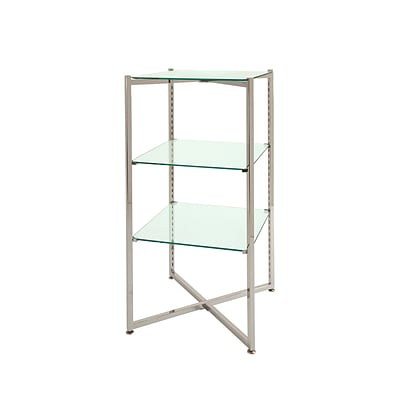 Econoco FLT37CGLS 37H Folding Glass Towers with Chrome Finish