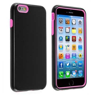 Insten® Verge Hard Hybrid Rubber Coated Silicone Cover Case w/Holster iPhone 6+ Black/Pink (1936393)