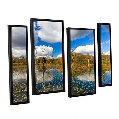 Artwall Beaver Marsh 4-Piece Floater Canvas Staggered Set 24 x 36 Framed (0yor001i2436f)