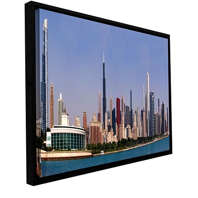 ArtWall Chicago Pano Gallery-Wrapped Floater-Framed Canvas 12 x 24 (0yor014a1224f)