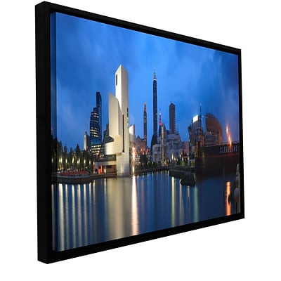 ArtWall Cleveland! Gallery-Wrapped Canvas 18 x 36 Floater-Framed (0yor048a1836f)