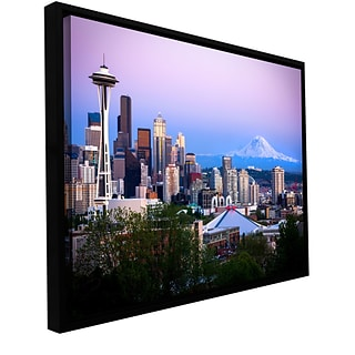 ArtWall Seattle And Mt Rainier 2 Gallery-Wrapped Canvas  24 x 36 Floater-Framed (0yor051a2436f)