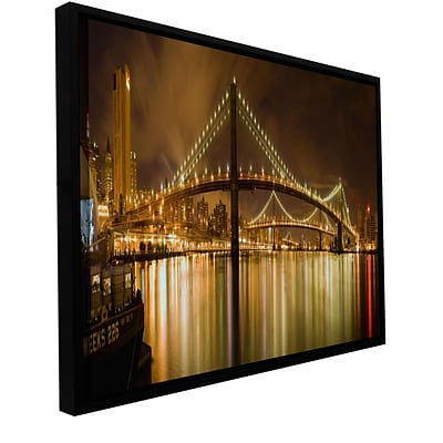 ArtWall Brooklyn Bridge Gallery-Wrapped Canvas 12 x 24 Floater-Framed (0yor012a1224f)