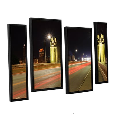 ArtWall Cleveland 7 4-Piece Canvas Staggered Set 24 x 36 Floater-Framed (0yor020i2436f)
