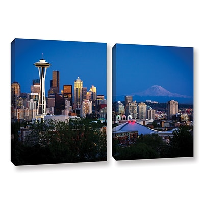 ArtWall Seattle and Mt. Rainier 2-Piece Gallery-Wrapped Canvas Set 18 x 28 (0yor050b1828w)