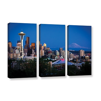ArtWall Seattle And Mt. Rainier 3-Piece Gallery-Wrapped Canvas Set 36 x 54 (0yor050c3654w)