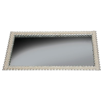 Naturally by Kingsley Polished Chrome Beauty Mirror 12.7 x 7 Faux Pearl (M-22)