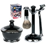 Kingsley for Men 5 Piece Mens Shave Set Black/Chrome (SB-651)