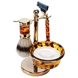 Kingsley for Men 5-Piece Mens Shave Set Mock, Tortoise/Brass (SB-660)