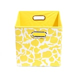 Modern Littles 10.5 x 10.5 x 10.5 Folding Storage Bin, Yellow Rusty Giraffe (RSTSTOR301)