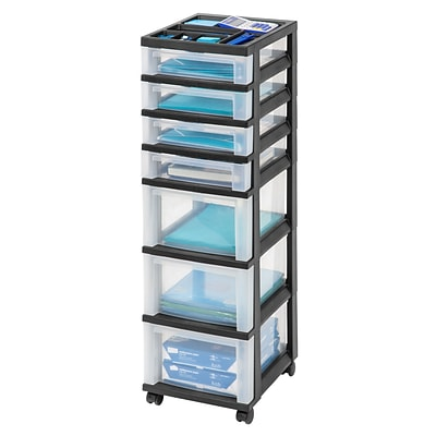 Iris® Rolling Cart with Plastic Organizer Top; 7-Drawer