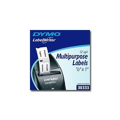 Dymo ® 1 x 1/2 Direct Thermal Multi-Purpose Label; Black on White, 1000 Labels/Roll (30333)