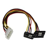 StarTech 12 LP4 to 2x Right Angle Latching SATA Power Y Cable Splitter; 4 Pin Molex to Dual SATA