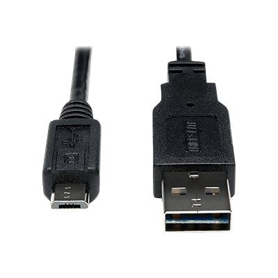 Tripp Lite 3 Universal Reversible Type-A USB/Type-B Micro USB Male/Male Hi-Speed Cable; Black (UR050-003-24G)