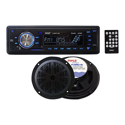 Pyle® PLMRKT12BK IN-Dash Marine AM/FM PLL Tuning Radio With USB/SD/MMC Reader; Black