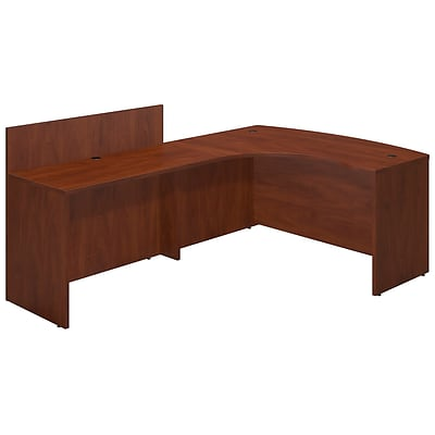 Bush Business Westfield 60Wx43D Left Bowfront Desk Shell w/ 48W Privacy Return, Cherry, Installed