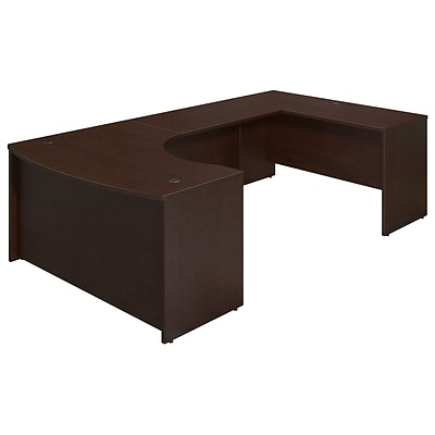 Bush Business Westfield Elite 60Wx43D Right Bowfront U Station Desk Shell, Mocha Cherry, Installed