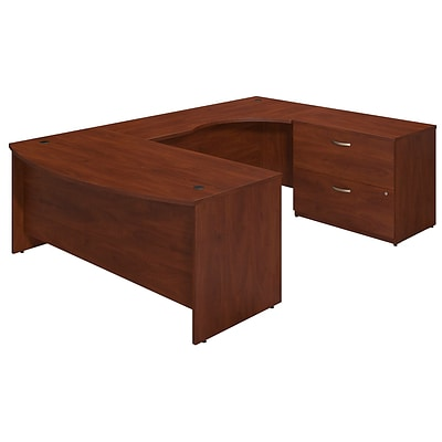 Bush Business Westfield 72Wx36D Right Bowfront U Station Desk Shell w/Lateral File, Hansen Cherry