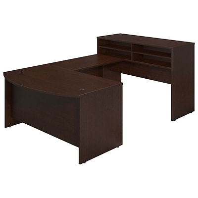Bush Business Westfield Elite 60Wx36D Bowfront U-Station w/Standing Height Desk Shell, Mocha Cherry